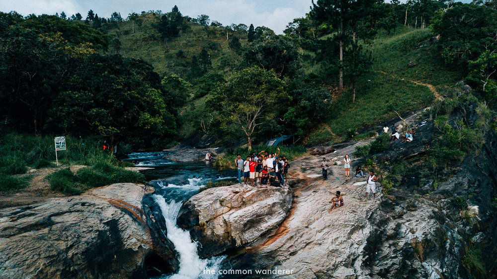 Hanging out on the edge of Diyaluma Falls, best things to do in Ella Sri Lanka