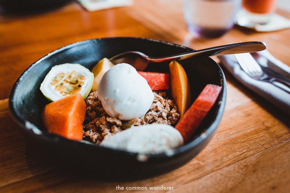 Granola and fruit breakfast at tri Lanka