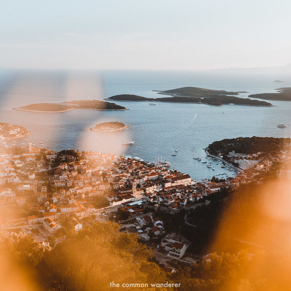 Sunset views over Hvar town from the Napoleon Fortress - best_things_to_do_Hvar