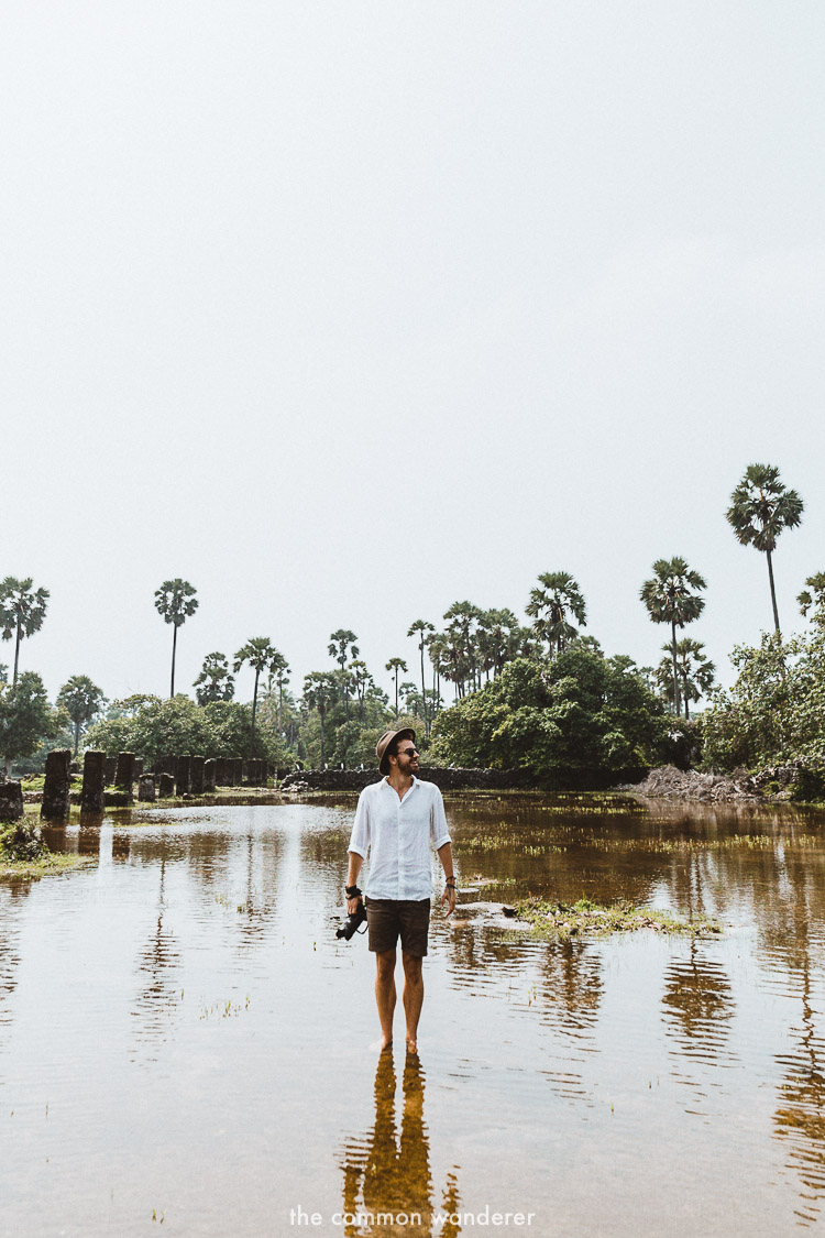 Standing in water on Delft Island Dutch Horse stables | Delft Island Guide