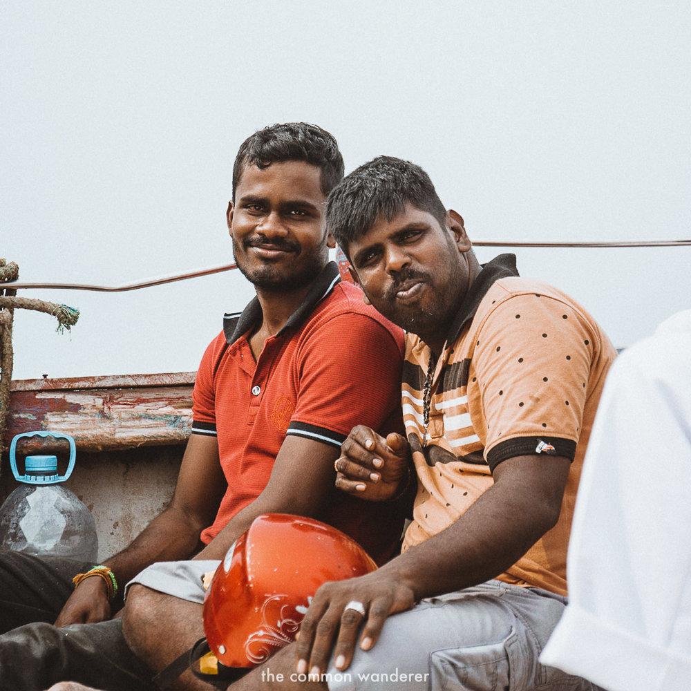 Two local men on the boat ride from Delft Island to Kurikadduwan jetty