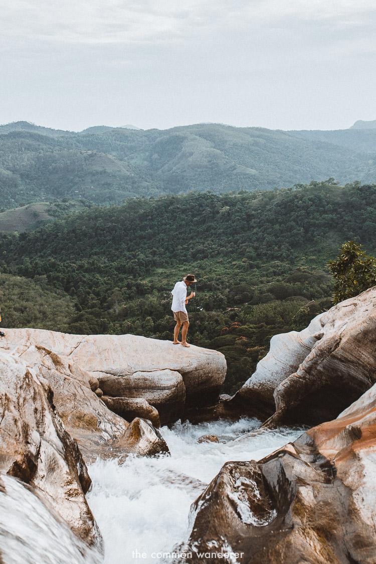 Standing on the edge of Diyaluma falls | | Diyaluma Falls guide