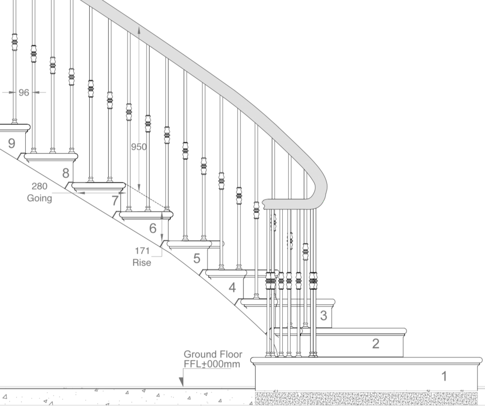 Drawing of Cavendish Cantilever Stone Staircase