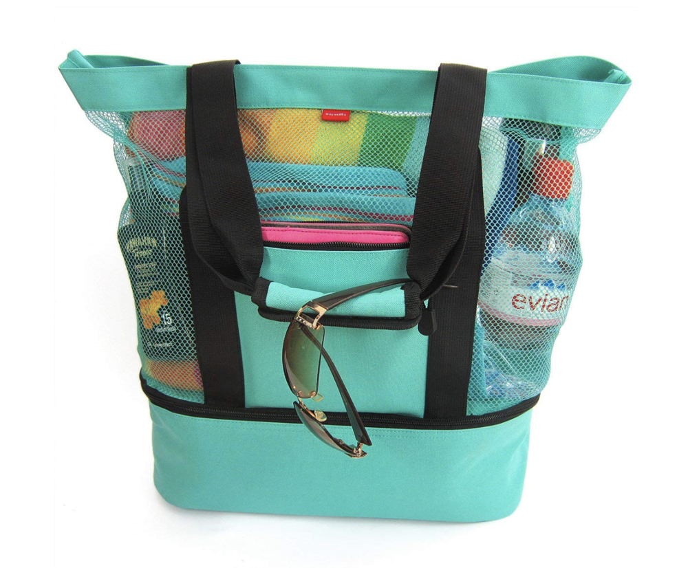 Beach Bag with Insulated Picnic Cooler - Pack the perfect beach bag — plus snacks — with this turquoise beach bag and insulated cooler. This roomy tote fits four beach towels plus sunscreen and shades in the main part and the cooler compartment will keep your snacks and drinks cool and tasty!
