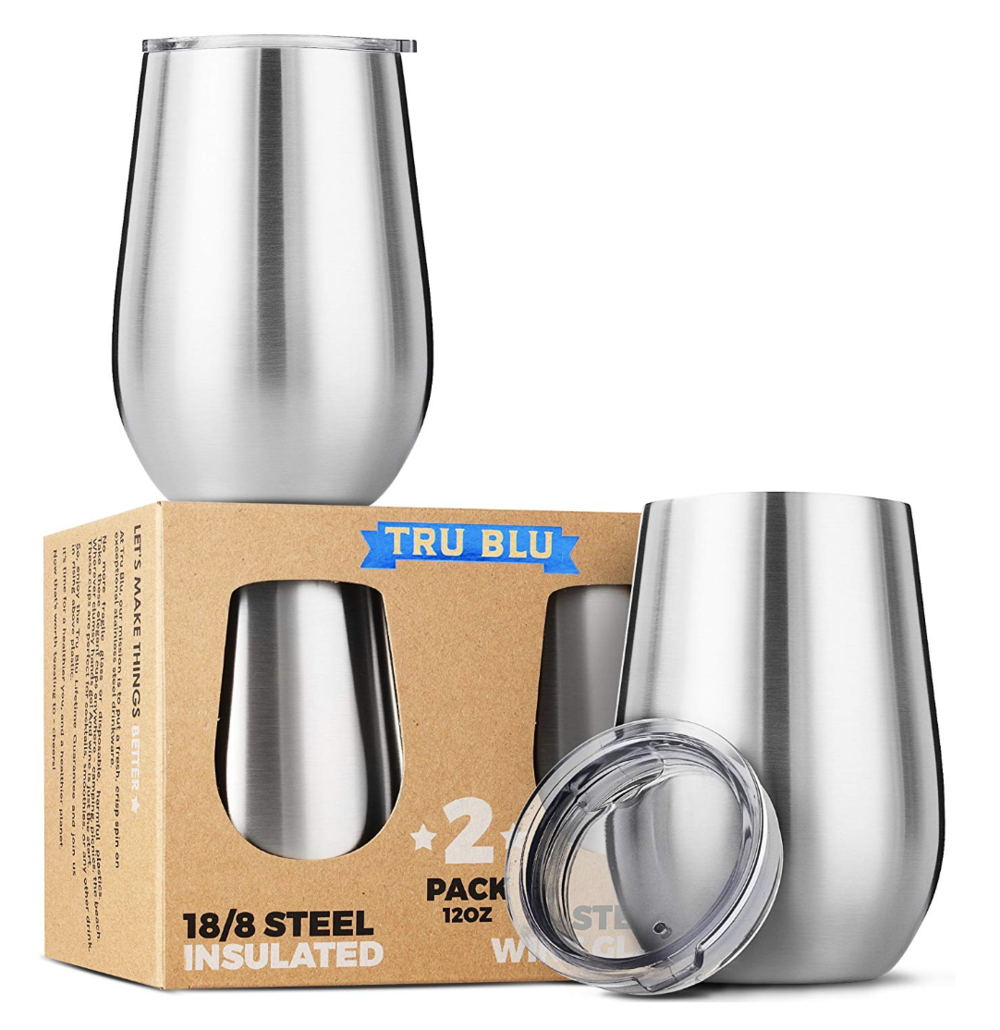 Stainless Steel Wine Glasses with Lids - If you're going to BYO to the beach (and check your local laws to ensure you don't get busted) you'll want to keep your cocktails cool and spill-free and this pair of stainless steel wine glasses will do just that! With a roomy 12 ounce capacity and vacuum insulation, these stemless wine glasses will be your go to for the beach or pool