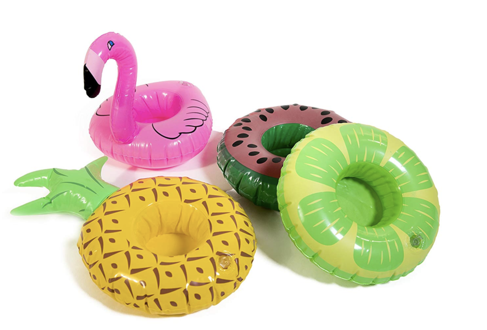 Pineapple, Flamingo, Flower, and Watermelon Inflatable Drink Holders - Pack this set of eight inflatable drink holders for your next day at the beach or pool and keep your cold cocktail close at hand! You get two of each style and they're easily inflatable, which makes them ideal to travel with!