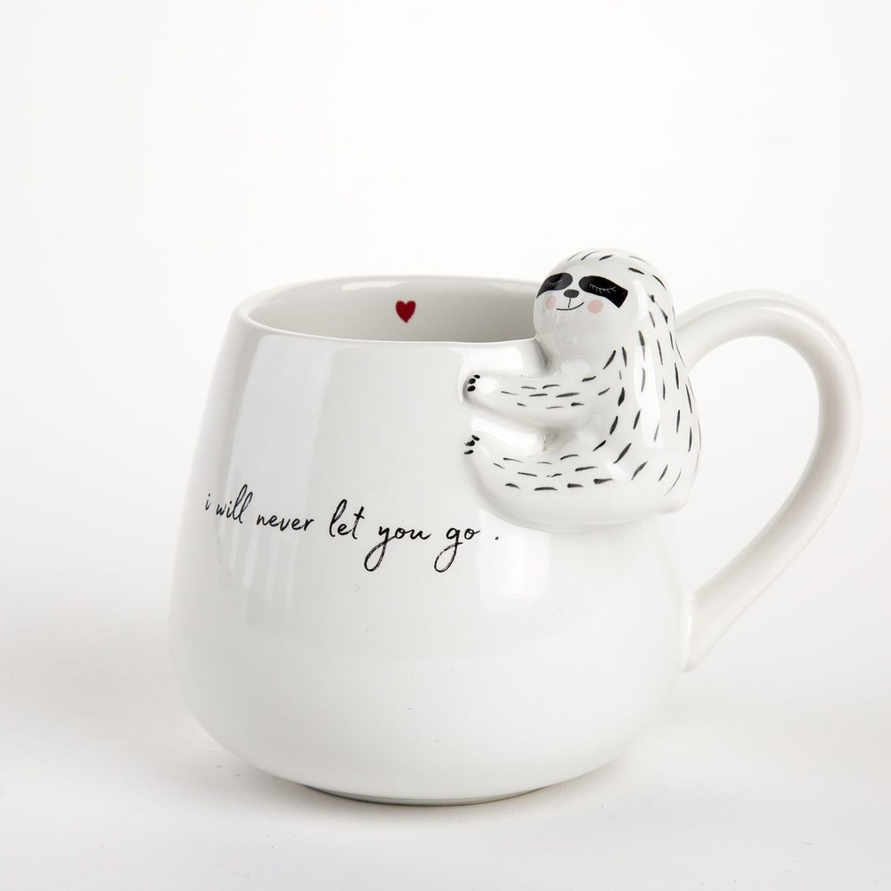 Sloth Never Let Go Mug - When there is a coffee or tea lover inside of all of us, there is also a sloth lover. Using this ceramic mug every morning, she'll always think of you!