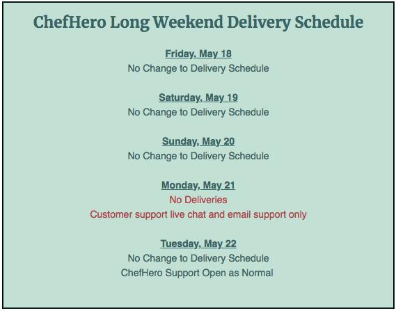 chefhero long weekend delivery schedule