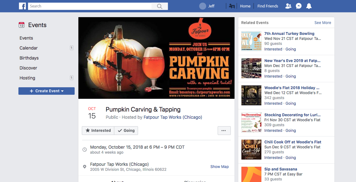 Create shareable Facebook event pages whenever something cool is happening at your restaurant. This could be like wine tastings, bar nights, and so on. If guests are interested, they'll invite their friends to the event!