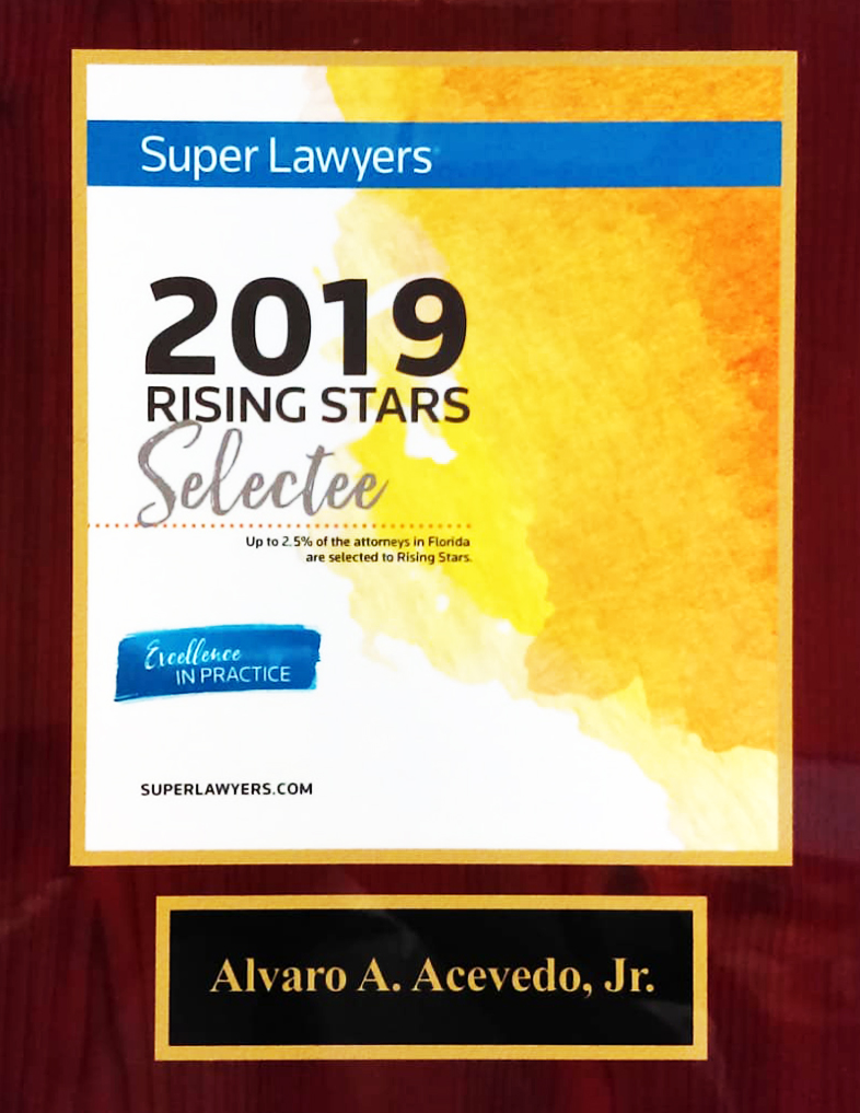 Super Layers Plaque Rising Star Alvaro Acevedo Tax Law