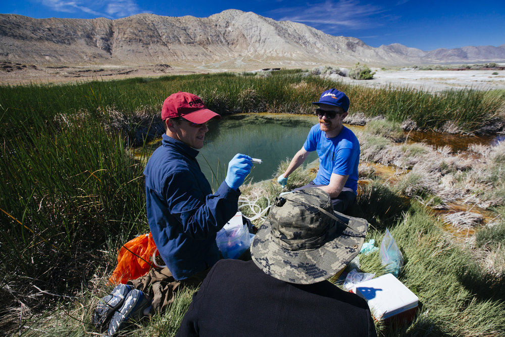 Prof. Brian Hedlund  (UNLV) and I filter hot spring fluids (photo cred  Michael James Murray )