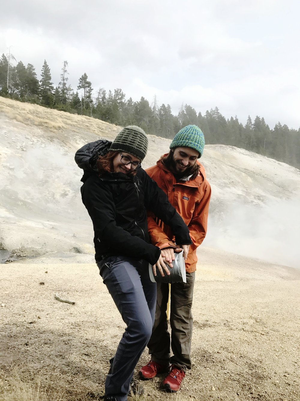Shawna and George in good spirits and prepping some gear. (Research conducted under Yellowstone research permit YELL-2017-SCI-5068)