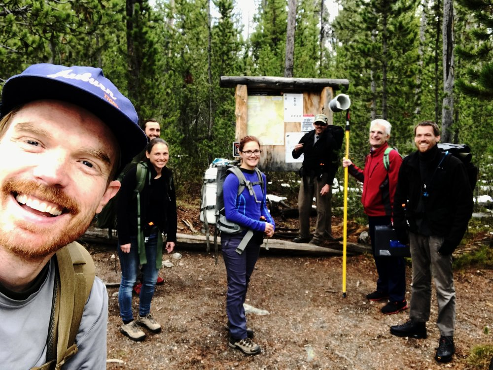 When you have to go on a long hike and accomplish a lot of sampling objectives, it helps to have a really fun crew of scientists with you. Here I am at the trailhead to Washburn Hot Springs with (from right to left)  Asst. Prof. Roland Hatzenpichler , Assoc. Prof. Mensur Dlakic, Prof. Bill Inskeep, grad student Shawna Pratt, Dr. Viola Krukenberg, grad student George Platt, and me.