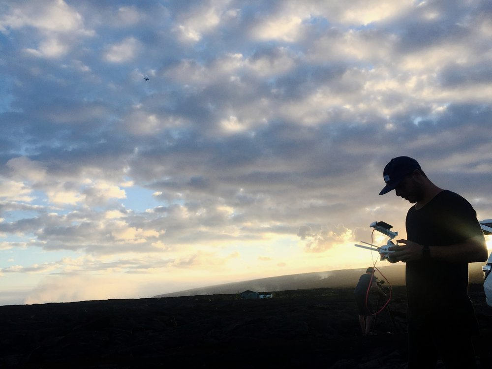 Michael James Murray  flying his drone over a lava field and taking some amazing videos.