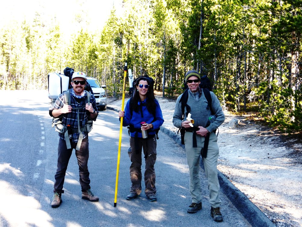 Me, Dr. Margaux Mesle, and Prof. Bill Inskeep at the trailhead to Washburn Hot Springs