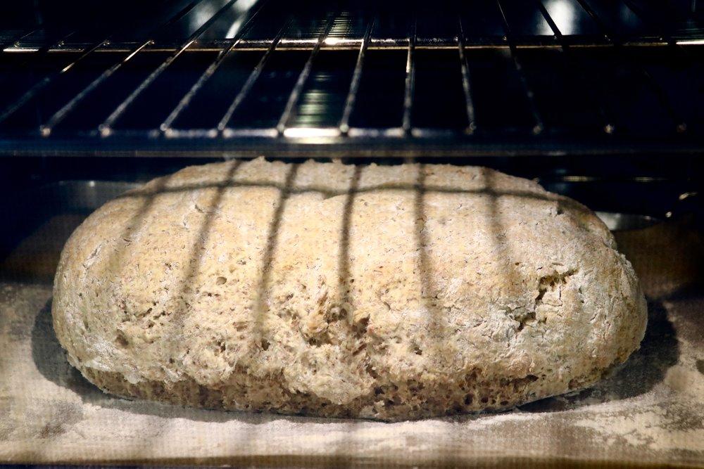Soda bread baking in the oven