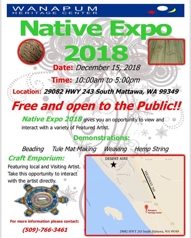 FREE LOCAL EVENT! . . . Native Expo 2018 at the Wanapum Heritage Center gives you an opportunity to view and interact with a variety of featured artists. . . . Demonstrations will include: beading, tule mat making, weaving, and hemp string. . . . A craft emporium will also take place, giving you the opportunity to interact with the artist directly.