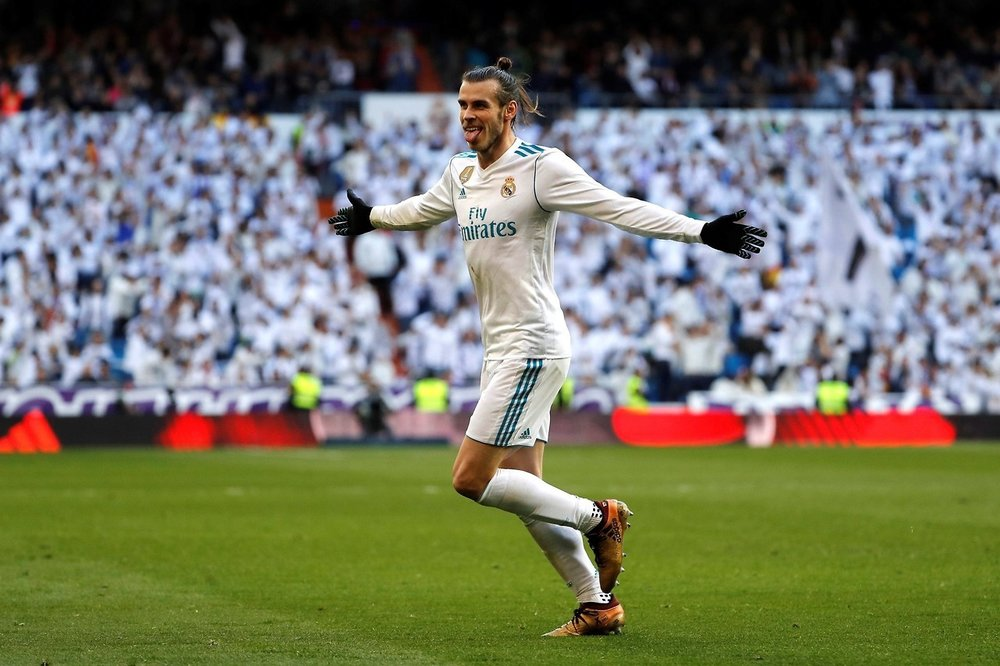Gareth Bale celebrates a goal for Real Madrid in La Liga