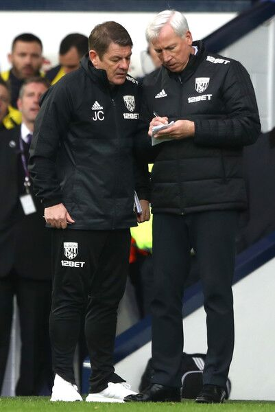 Alan Pardew coaches for West Brom in the English Premier League