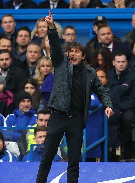 Antonio Conte coaching Chelsea in the English Premier League (EPL) Against Manchester United