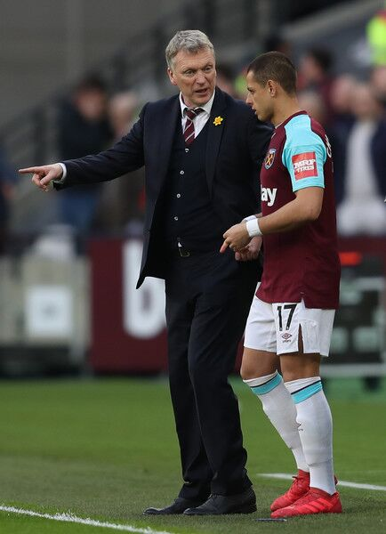 David Moyes coaches West Ham in the English Premier League against Arsenal