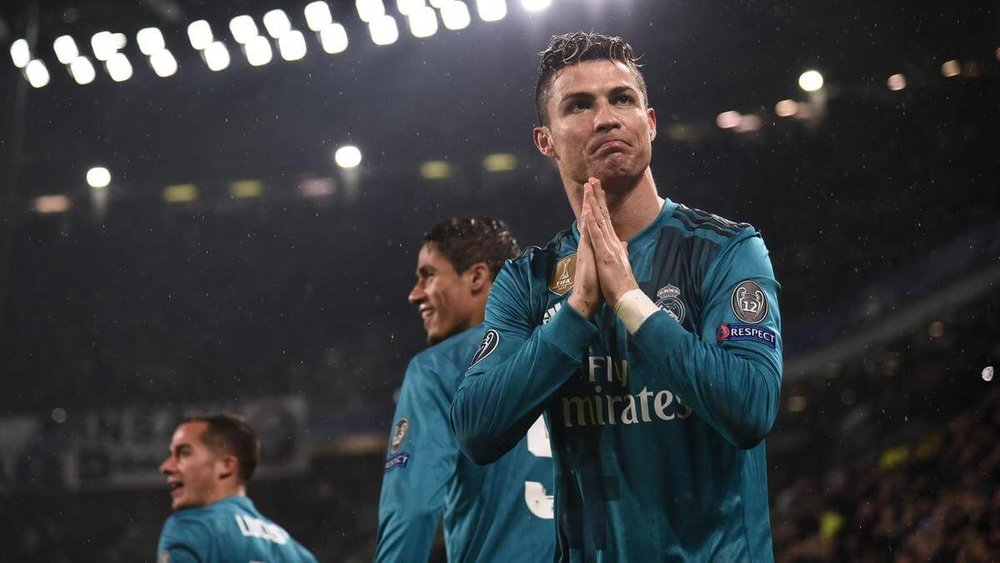 Real Madrid striker Cristiano Ronaldo, celebrates in the UEFA Championship