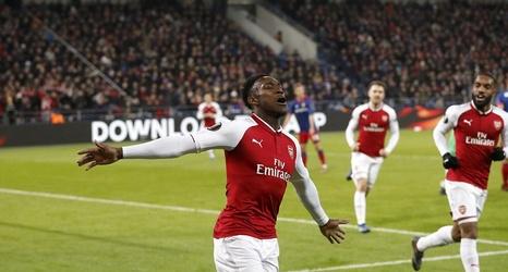Arsenal forward Danny Welbeck celebrates a goal in the Europa League against CSKA Moscow