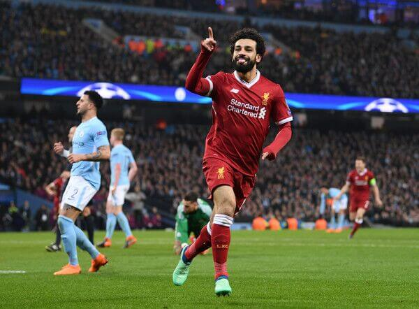 Liverpool forward Mohamed Salah celebrates a goal against EPL side Manchester CIty in the UEFA Champions League