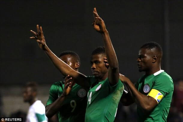 Henry Onyekuru scores a goal for Nigeria ahead of AFCON 2019