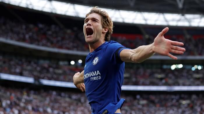 Chelsea defender Marcos Alonso celebrates a goal against Manchester United in the English Premier League