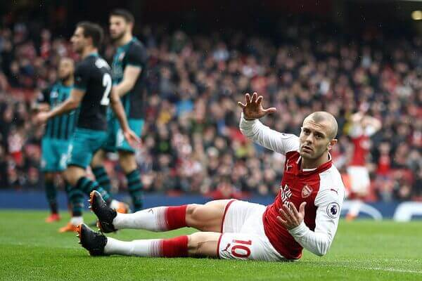 Arsenal midfielder Jack Wilshere escapes a red card against Southhampton in the English Premier League