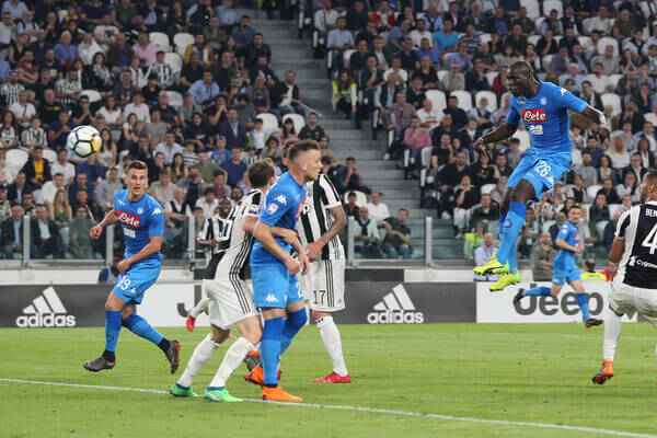Kalidou Koulibaly in action for SSC Napoli FC against Juventus FC in Italian Serie A