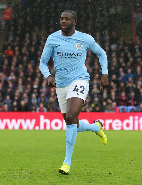Yaya Toure in action for Manchester City FC in English Premier League