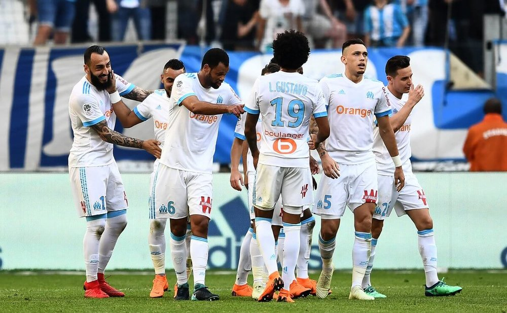 FC Marseille in action against Red Bull Salzburg in UEFA Europa League semi-final