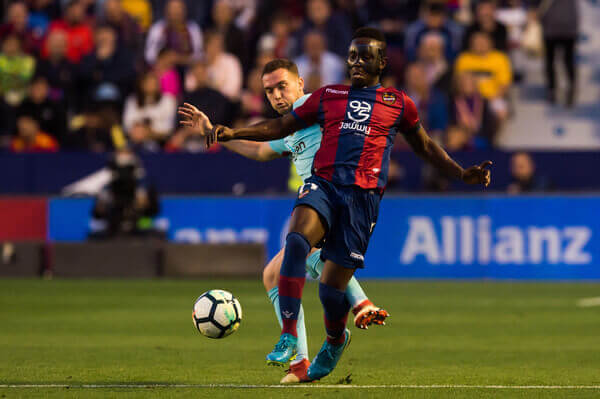 Emmanuel Boateng helped Levante FC end Barcelona FC unbeated run in La Liga