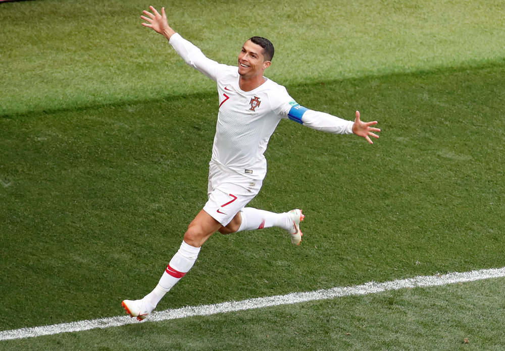 Cristiano Ronaldo scores a goal in the FIFA World Cup in Russia against Morocco