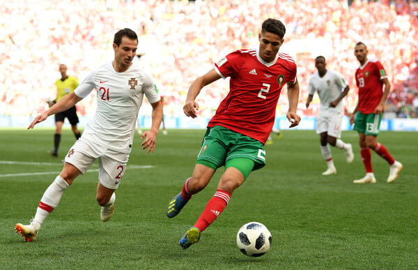 Achraf Hakimi in action for Morocco during World Cup 2018.