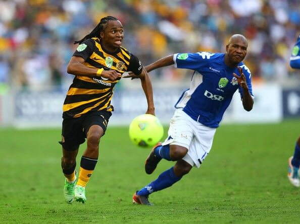 SiphiweTshabalala (L) of the Chiefs runs with the ball during the Nedbank Cup Final between SuperSport United and Kaizer Chiefs at Moses Mabhida Stadium on May 25, 2013 in Durban, South Africa.  (Dec. 31, 1999 - Source: Gallo Images/Getty Images Europe)