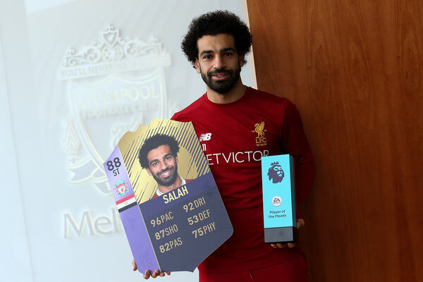 Mohamed Salah is Awarded the EA SPORTS Player of the Month for November at Melwood Training Ground on December 14, 2017 in Liverpool, England.  (Dec. 13, 2017 - Source: Jan Kruger/Getty Images Europe)
