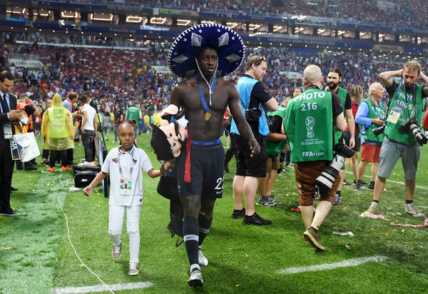 Benjamin Mendy of France celebrates following his sides victory in the 2018 FIFA World Cup Final between France and Croatia at Luzhniki Stadium on July 15, 2018 in Moscow, Russia.  (July 14, 2018 - Source: Matthias Hangst/Getty Images Europe)
