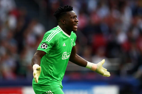 Andre Onana of Ajax reacts during the Group E match of the UEFA Champions League between Ajax and AEK Athens at Johan Cruyff Arena on September 19, 2018 in Amsterdam, Netherlands.  (Sept. 18, 2018 - Source: Dean Mouhtaropoulos/Getty Images Europe)