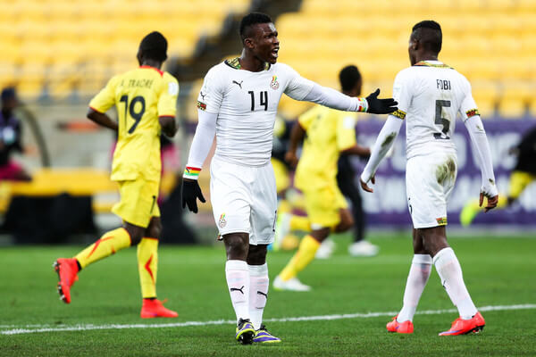 Joseph Aidoo of Ghana shows his frustration after a Mali goal during the FIFA U-20 World Cup New Zealand 2015 Round of 16 match between Ghana and Mali at Wellington Regional Stadium on June 10, 2015 in Wellington, New Zealand.  (June 9, 2015 - Source: Hagen Hopkins/Getty Images AsiaPac)