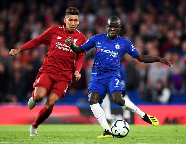 N'Golo Kante of Chelsea in action with Joe Bennett of Cardiff City during the Premier League match between Chelsea FC and Cardiff City at Stamford Bridge on September 15, 2018 in London, United Kingdom.  (Sept. 14, 2018 - Source: Marc Atkins/Getty Images Europe)