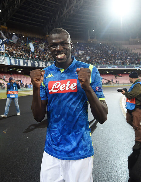 Kalidou Koulibaly player of SSC Napoli celebrates the victory after the Group C match of the UEFA Champions League between SSC Napoli and Liverpool at Stadio San Paolo on October 3, 2018 in Naples, Italy.  (Oct. 2, 2018 - Source: Francesco Pecoraro/Getty Images Europe)