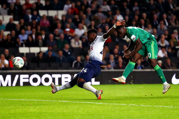 Isaac Success of Watford scores his sides first goal during the Carabao Cup Third Round match between Tottenham Hotspur and Watford at Stadium mk on September 26, 2018 in Milton Keynes, England.  (Sept. 25, 2018 - Source: Getty Images Europe)