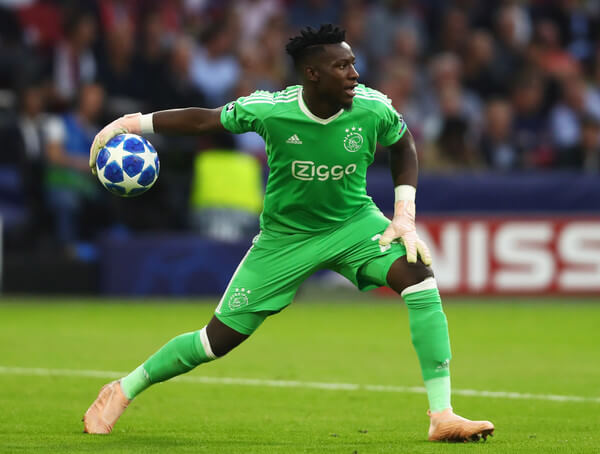 Andre Onana of Ajax celebrates as Donny van de Beek of Ajax scores their first goal during the Dutch Eredivisie match between Ajax Amsterdam and Feyenoord at Amsterdam ArenA on January 21, 2018 in Amsterdam, Netherlands.  (Jan. 20, 2018 - Source: Dean Mouhtaropoulos/Getty Images Europe)