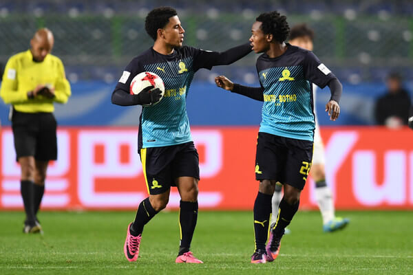 Percy Tau of Mamelodi Sundowns celebrates wuth his team mate after a goal during the FIFA World Cup match for 5th place between Mamelodi Sundowns and Jeonbuk Hyundai at Suita City Football Stadium on December 14, 2016 in Suita, Japan.  (Dec. 13, 2016 - Source: Atsushi Tomura/Getty Images AsiaPac)