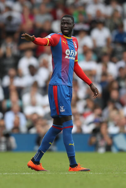 Cheikhou Kouyate of Crystal Palace in action during the Premier League match between Fulham FC and Crystal Palace at Craven Cottage on August 11, 2018 in London, United Kingdom.  (Aug. 10, 2018 - Source: Christopher Lee/Getty Images Europe)