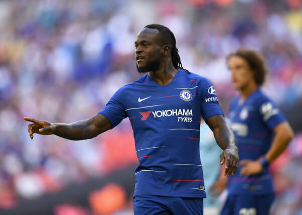 Victor Moses of Chelsea looks on during the FA Community Shield match between Manchester City and Chelsea at Wembley Stadium on August 5, 2018 in London, England.  (Aug. 4, 2018 - Source: Clive Mason/Getty Images Europe)