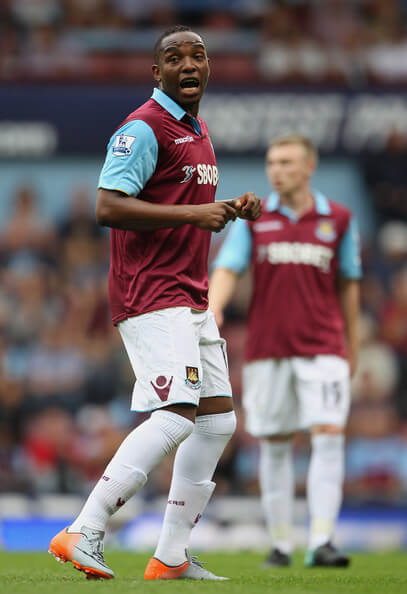 Benni McCarthy of West Ham Unitedspeaks to team mates during the Barclays Premier League match between West Ham United and Bolton Wanderers at the Boleyn Ground on August 21, 2010 in London, England.  (Aug. 20, 2010 - Source: Phil Cole/Getty Images Europe)